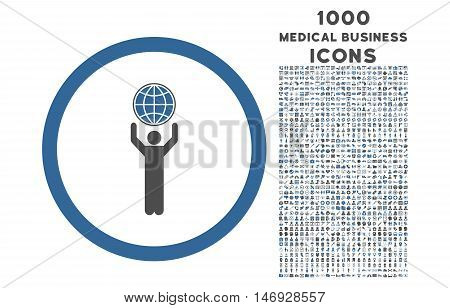 Globalist rounded glyph bicolor icon with 1000 medical business icons. Set style is flat pictograms, cobalt and gray colors, white background.