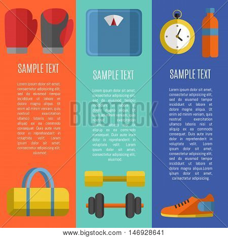 Fitness and healthy lifestyle vertical banners with space for text, vector illustration set in flat style. Sports equipments on color background. Outdoors activity. Workout and gymnastics.