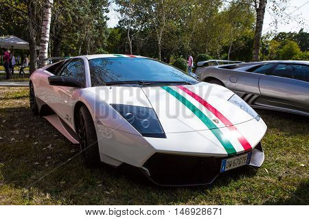 Mogliano VenetoItaly Sept 112016:Photo of a Lamborghini Murciélago SL Superveloce at meeting Top Selection 2016. At the 2009 Geneva Motor Show unveiled the ultimate version of the Murciélago the LP 670–4 SuperVeloce.
