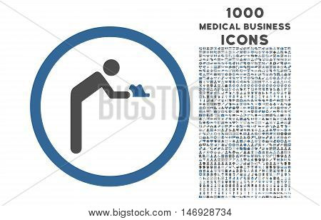 Servant rounded glyph bicolor icon with 1000 medical business icons. Set style is flat pictograms, cobalt and gray colors, white background.