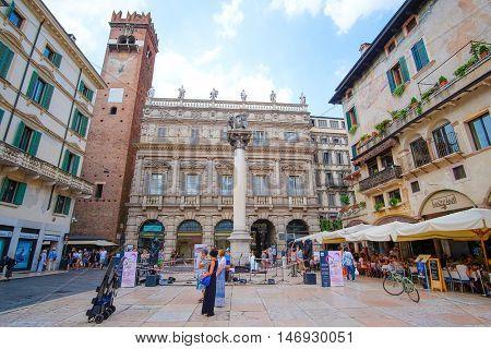 Verona, Italy - July, 2, 2016: square in a cental part of Verona, Italy