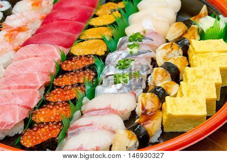 Assorted Sushi Set in traditional Japanese Style