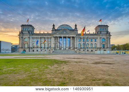 The Reichstag Building At Sunset In Berlin, Germany