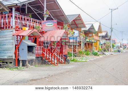 PASTO, COLOMBIA - JULY 3, 2016: colorfull restaurants located in a small place close to laguna la cocha