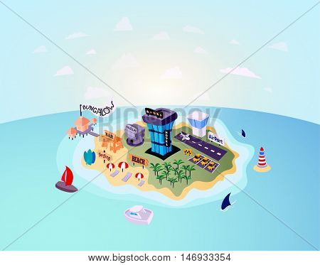 Desert tropical island with palm tree, vacation travel on beach near the hotel or bungalow, included airport taxi and museum, vector background illustration