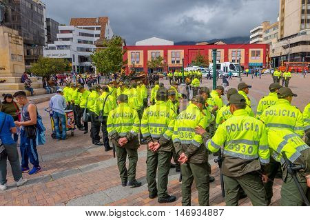 PASTO, COLOMBIA - JULY 3, 2016: police standing in the center square of the city preparing an exhibition.