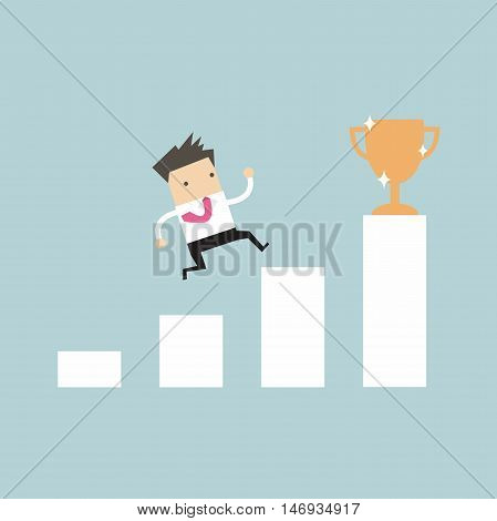 Businessman climbing ladder to success. Motivation and goal concept to be successful in business and life.