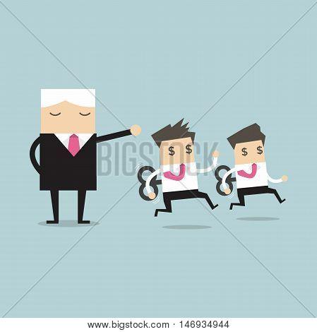 Boss command mechanical business man. vector illustration