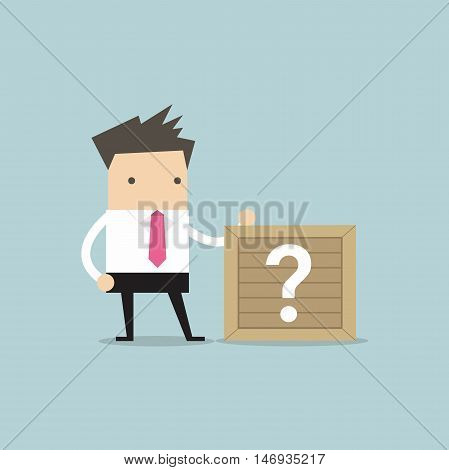 Businessman standing beside unknown box vector illustration