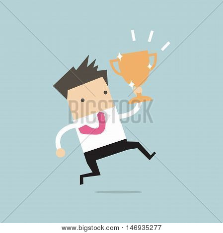 Businessman jumping and holding trophy vector illustration