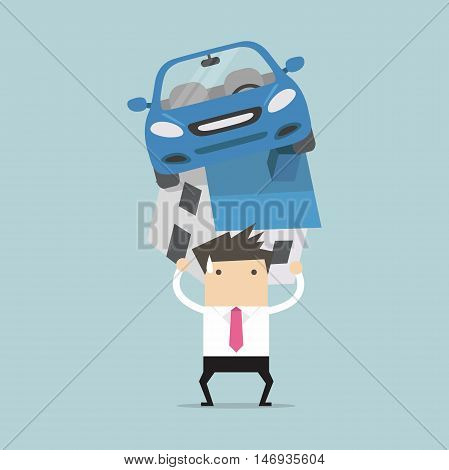Businessman with debt carrying a home and car vector