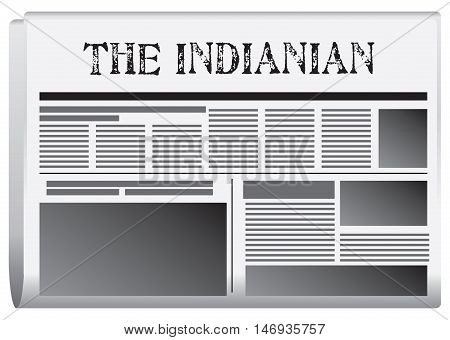 Abstract newspaper Indiana United States. Vector illustration.