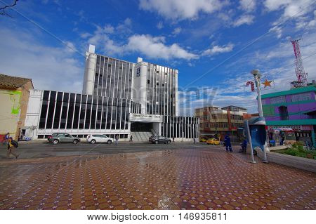 TULCAN, ECUADOR - JULY 3, 2016: the city hall is located in the intersection between sucre and 10 de agosto avenues.