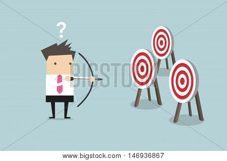 Businessman holding bow and arrow confused by multiple bulls eye target vector