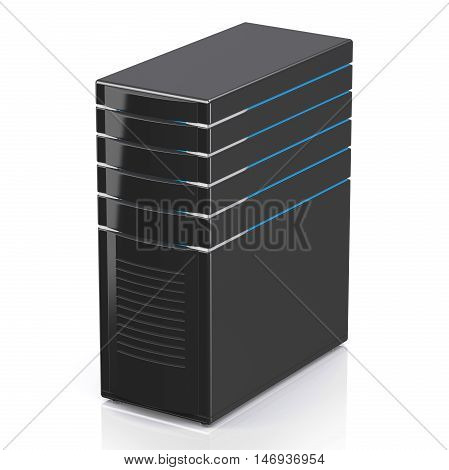 3D illustration of network workstation server isolated on white background.