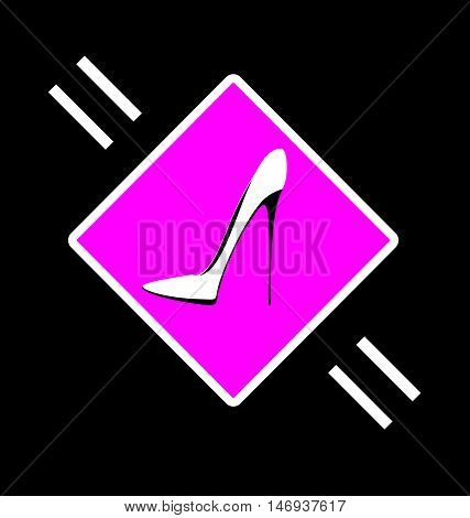 dark background and abstract image cup of shoe consisting of lines in the pink sign