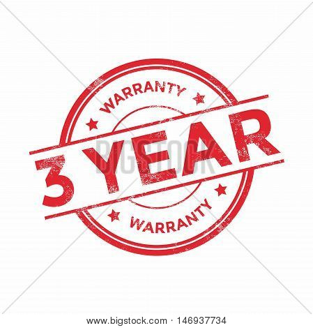 3 year warranty icon isolated on white background