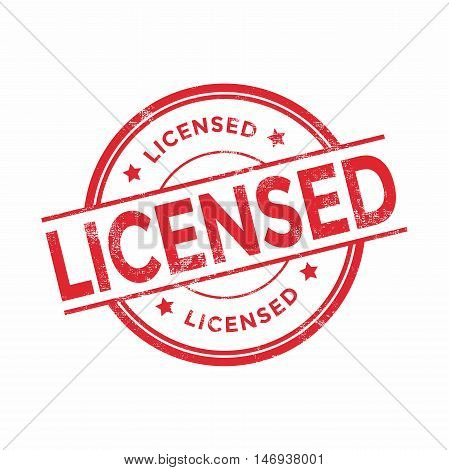 Licensed product stamp illustration isolated on white background