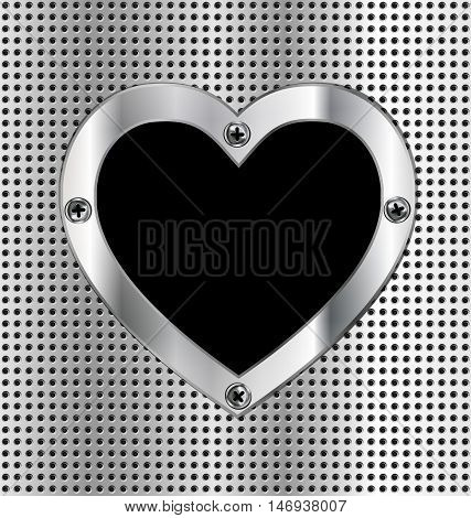 iron background and the light metal heart