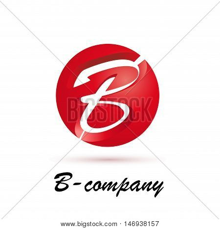Vector sign spherical initial red letter B