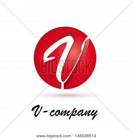 Vector sign spherical initial red letter V