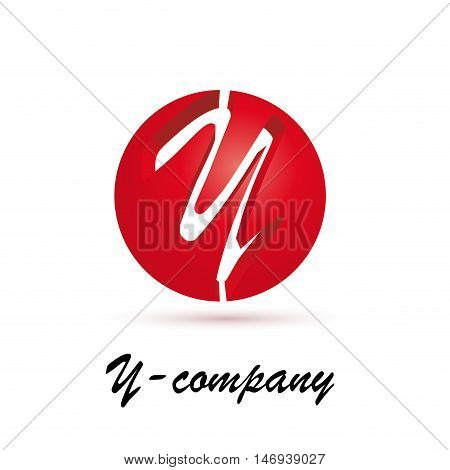 Vector sign spherical initial red letter Y