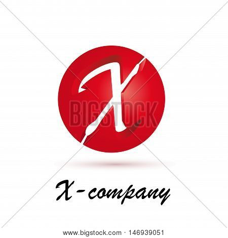 Vector sign spherical initial red letter X
