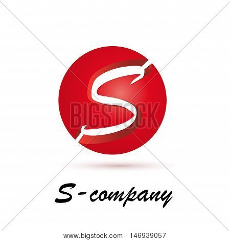 Vector sign spherical initial red letter S