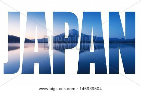 Word Japan Over Mountain Fuji At Dawn With Peaceful Lake Reflection