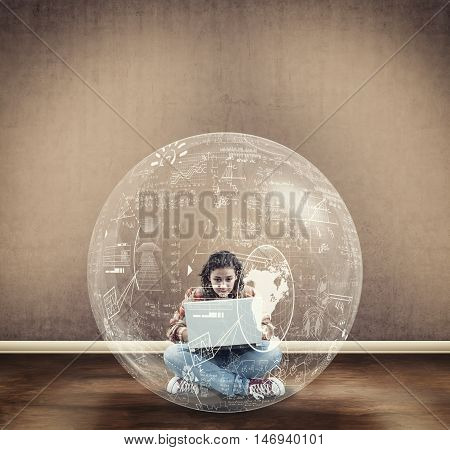 Young girl using a laptop into a bubble full of math formulas