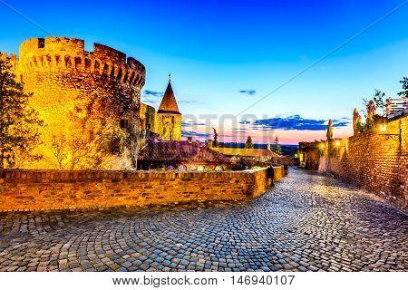 Belgrade Serbia. Kalemegdan Fortress in the night ancient Singidunum. Most important historical monument in Serbian capital city.