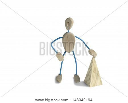toy from wood in the form of a man. on a white background . in a pose. Funny mannequin for your project