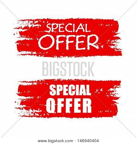 special offer - text on red drawn banner, business concept, vector