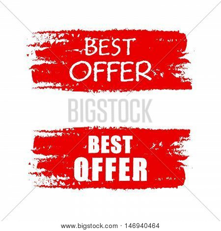 best offer - text on red drawn banner, business concept, vector