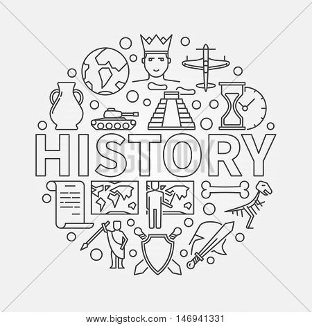 History linear illustration. Vector history school subject round symbol made with thin line icons