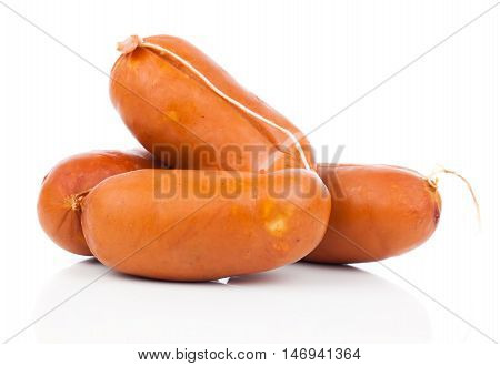 fresh sausage isolated on a white background