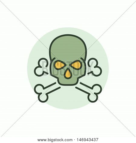 Skull vector icon. Vector flat symbol of skull with two bones. Crossbones colorful sign