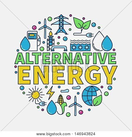 Alternative Energy round illustration. Vector renewable energy concept colorful flat sign