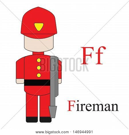 Letter F alphabet of professions. Fireman. ABC education cards for kids.