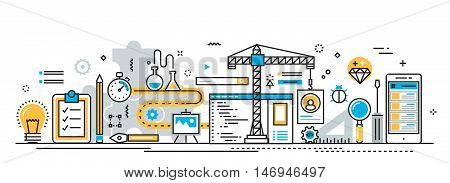 Flat line vector design concept of mobile application development process app design programming coding building and debugging for website banner and landing page header infographics
