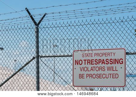 State Property No Trespassing Sign Close Up Detail