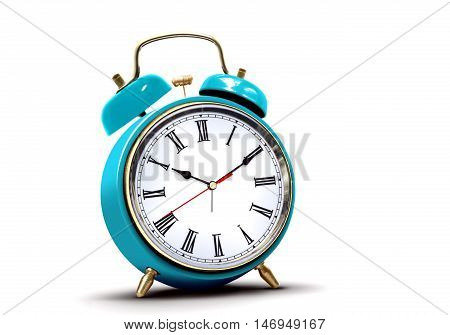 Alarm clock with roman numbers on white background