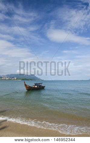 The Fisherman Boat In The Morning at beach, Langkawi, Malaysia.