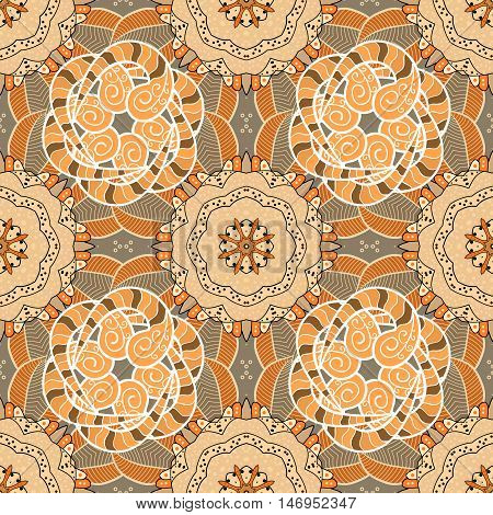 Seamless floral pattern on brown mandala style. Vector illustration.