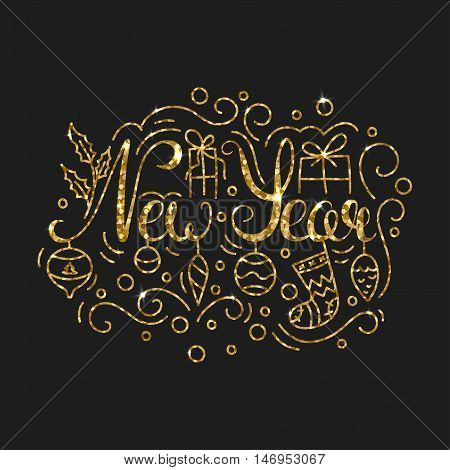 New Year Golden Lettering Design. Typographic Background with Christmas Greetings. Line Art Style Vector Illustration. Shiny gold glitter print with quote for housewarming items.