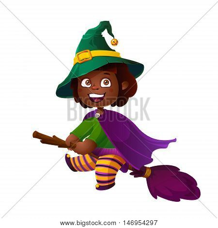 Cute African American Girl Witch on the Broom. Happy Halloween. Trick or Treat, Cartoon Illustration. Witch flying on a broomstick isolated on white background