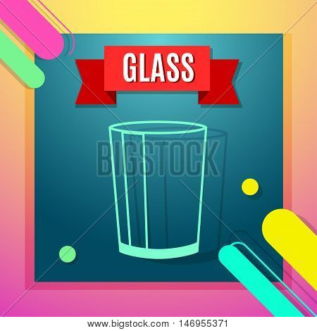Waste sorting flat icon with glass and text. Vector concept illustration template sorting waste blue sticker modern design.