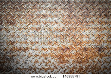 Steel floor for background or texture. Front view of a rusty panel with non-slip surface.