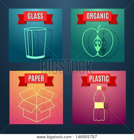 Waste sorting flat icon with images symbols and text. Vector concept illustration template waste separation sticker modern design.