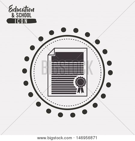 Diploma inside circle icon. School education learning and study theme. Black and white design. Vector illustration